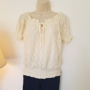 Tops - Sweet bow tie front lace blouse